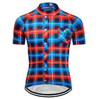 2018 New Mens Cycling Short Sleeve Tops Plaid Shirts Jerseys Outdoor Sport Wear