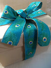 PEACOCK FEATHERS burlap/jute style shimmer 63mm - Luxury Wire Edged Ribbon