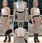 Karen Millen DZ179 Colour Block Structured Lace Pencil Occasion Mini Dress 12 40