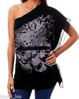 Black w/ Gray/Silver Screenprint One/Off Shoulder Chiffon Trim Top