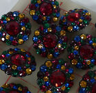 12 Czech black metal shank buttons covered with multi-color rhinestones 30mm 272