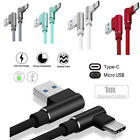 Braided 90 Degree Right Angle Type C / Micro USB Fast Data Sync Charger Cable