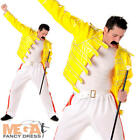 Rock Superstar Mens Fancy Dress 1980s Celebrity Freddy Mercury Adults Costume