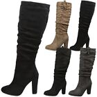 WOMENS BOOTS LADIES KNEE HIGH MID CALF SLOUCH BLOCK HEEL PARTY CASUAL SIZE NEW