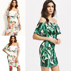 Women Floral Dress Skirt Sexy Splicing Printing Off Shoulder Backless O7545