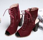 Hot Stylish Womens Suede Wedge Block Heel Ladies Lace Up Boots Sandals Shoes SZ
