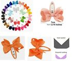 NEW BUY 4pc GET 2pc FREE Pair 7cm Hair Bow Snap Clips Grosgrain Ribbon Eco Kids