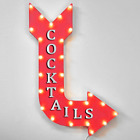 COCKTAILS Drinks Cocktail Bar Beer Pub Rustic Metal Marquee Light Up Arrow Sign