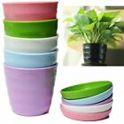 Plastic Plant Flower Pot Planter With Saucer Tray Round Gloss Garden Decor