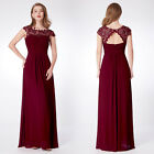 Ever-pretty Cap Sleeve Burgundy Bridesmaid Dresses Long Lace Evening Gown 09993