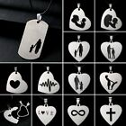 Family Mom Dad Son Daughter I Love You Letter Stainless Steel Pendant Necklace
