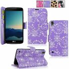 For LG X Power PU Leather Card Slot Wallet Flip Stand Case Cover Tempered Glass <br/> Screen Protector Glass, Fast US Shipping, FREE SHIPPING
