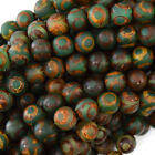 "Matte Green Brown Tibetan DZI Agate Round Beads 15"" Evil Eye 6mm 8mm 10mm 12mm"