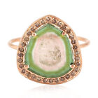 Solid Rose Gold 0.24ct Real Diamond Tourmaline Gemstone Cocktail Ring For GIFT