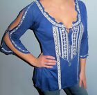 New Bohemian EMBROIDERED Off Shoulder PEASANT Tunic BEAD TIE Top Shirt Blue S M