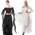 Внешний вид - Women Medieval Renaissance White Long Court Dress Night Princess Nightwear Gown