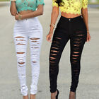 Fashion Womens' Ripped Jeans Skinny Pants Stretch Slim Denim Distressed Trousers