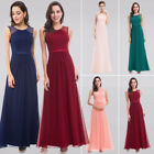 Ever-pretty UK Pink Long Bridesmaid Dresses Sleeveless Beaded Evening Gown 08742