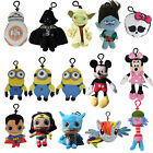 Cartoon Plush Coin Clip Toy Bag with Zipper for Backpacks - Multiple Styles