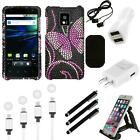 For LG Optimus G2X P990 Diamond Diamante Bling Rhinestone Case Cover Charger