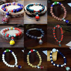 Multi-Color Vintage Chinese Ceramics Pendant Beaded Bracelet Drop Ethnic Jewelry