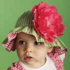 Mud Pie Baby PINK/GREEN GINGHAM FLOWER HAT 192159-12 Lil' Chick Collection