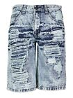 Brooklyn Xpress Men's Relaxed Fit Ripped Distressed Destroyed Jean Denim Shorts