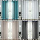 Jazz Linen Style Voile Curtain Panels Ready Made Ring Top Eyelet Curtain Pairs