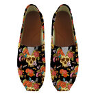 Women Slip On Shoes Cool Skull Print Canvas Flat Loafers Girl Slacker Shoes NEW