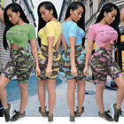 Women short sleeves print bodycon camouflage print sports club jumpsuit 2pc