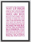 Somewhere Over the Rainbow Wizard of Oz Song Lyrics Typography A4 Print Poster