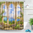 72x72'' Old Arch Overlooking The Sea Bathroom Shower Curtain Waterproof Fabric