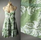 Tropical Palm Leaf Print Island Beach Tiered Babydoll Day Sun 185 mv Dress S M L