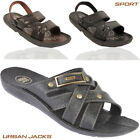 Men's Gezer Faux Leather Summer Flip Flops Sports  Beach Shoes Sandals Slippers