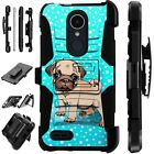 For Apple / LG Phone Case Holster Kick Stand Cover SNOW PUG DOG Lux Guard