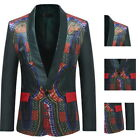 New African Mens Long Sleeve Blazer Jackets Ethnic Print One Button Suit Jackets