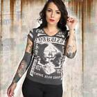 Neues Yakuza Damen Kiss My XXX V-Neck T-Shirt - Schwarz Meliert