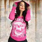 Neues Yakuza Damen Skull Hooded Shirt Longsleeve - Fuchsia Rose