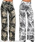 Black White Retro Floral Foldover High Double Waist/Wide Leg Long Pants/Palazzo