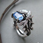 Vintage Women 925 Silver Blue Topaz Dragonfly Lotus Ring Wedding Party Jewelry image
