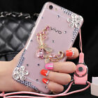 Jewelled Rhinestone Bling Crystal Diamond Soft Back Phone Case Cover & strap #6