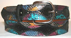 Genuine Black & Multi Color Python Skin Belt will contact for size 24-48
