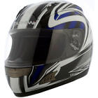 Duchinni D721 Blue White Full Face Motorcycle Crash Helmet 4 Star Sharp Rating
