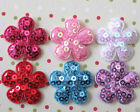 "60 pc x 1"" Mix Padded Shiny Sequined Felt Spring Flower Appliques for Bows ST506"