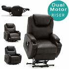 CINEMO DUAL MOTOR RISER RECLINER BONDED LEATHER  ARMCHAIR MASSAGE HEATED CHAIR