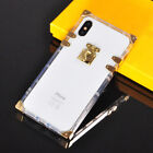 Luxury Metal 2in1 Clear Crystal Back Trunk Case Cover For iPhone X 6 7 8 Plus