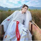 Chinese Retro Men's Embroidery Crane Floral Cotton Blend Cosplay Outwear Suits