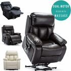 CHESTER DUAL MOTOR RISER ELECTRIC LEATHER RECLINER ARMCHAIR HEATED MASSAGE CHAIR