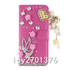 Handmade Magnetic Bling Luxury Diamonds Crystal PU Leather wallet Cover Case 27