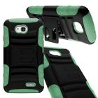 Hybrid Hard Soft Case Combo Holster Phone Cover for LG Optimus L70 / Exceed 2